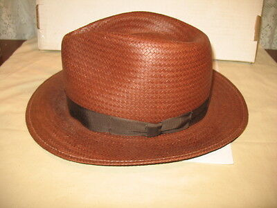 "Vintage Bailey Of Hollywood Straw Hat, ""Shooter"" Fedora"