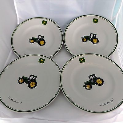 "Set of 4 John Deere Tractor 11 1/4"" Dinner Plates by Gibson Designs"