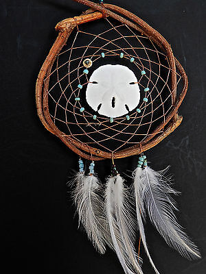 Dreamcatcher #1217 Small Sanddollar w/blue beads Native American Tribal