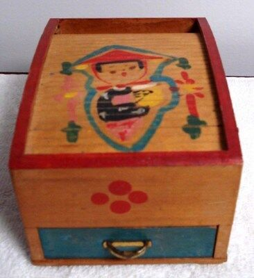 Vtg Antique Wooden Tambour Roll Top/drawer/ Jewelry / Trinket Box Oriental
