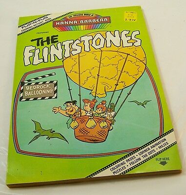 1977 Flip-N-Fun Coloring Book, The Flintstones Bedrock Ballooning Hanna-Barbera