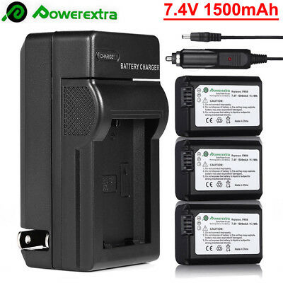 3x NP-FW50 Battery+Charger For Sony Alpha A6000 A3000 A5000 A7 A7R A7S NEX-3N/5N