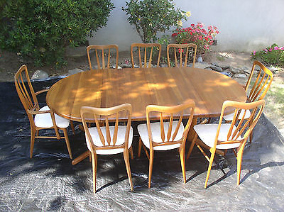 Koefoeds Hornslet Danish modern dining set with 8 chairs, 2 leaves