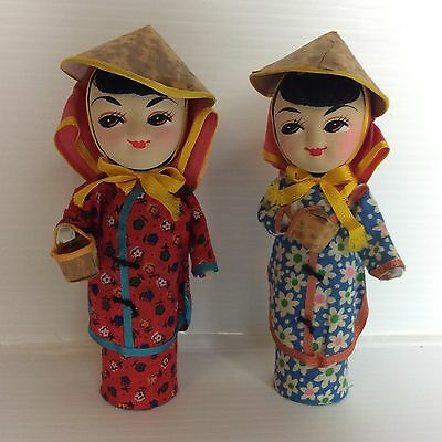 Pair Of Antique Vintage Chinese Japanese Asian Small Oriental Dolls