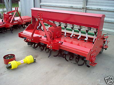 heavy duty 3 point 6 ft. rotary tiller with seeder