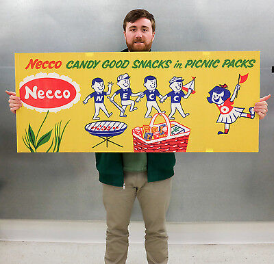 Vintage Necco Candy Corrugated Store Display Banner 60s 70s Original Collectible