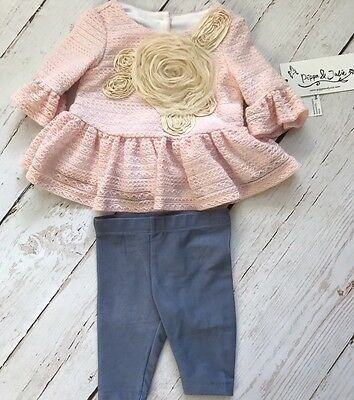 NWT Baby Girl Pippa & Julie 2 Piece Soft outfit lined pink flower  3 months
