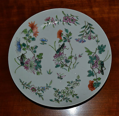 Antique Chinese Famille Rose Porcelain Plate 19th C Qing Dynasty Crickets