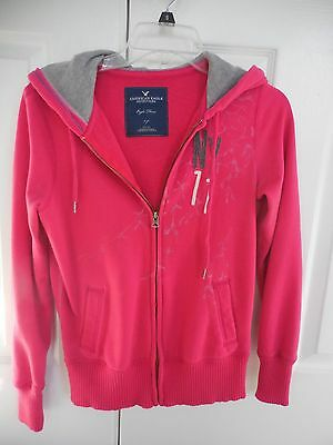 American Eagle Pink Hoodie Sweatshirt With Full Zipper - Size Small