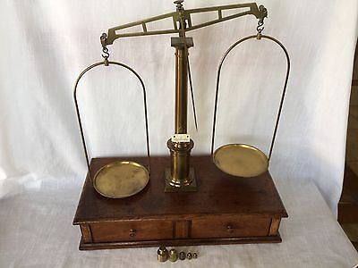 Antique Balance Or Scale With Weights And Hallmarks