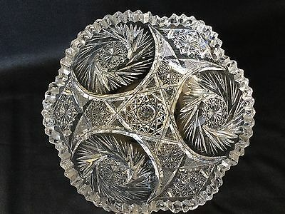 Vintage Brilliant Cut Art Glass Bowl 8 Inches across And 3 1/4 Tall