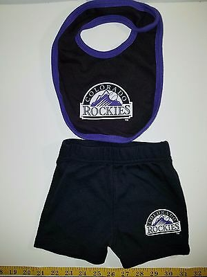 Colorado Rockies Baby Bib and Infant Shorts Size 0-3 Months
