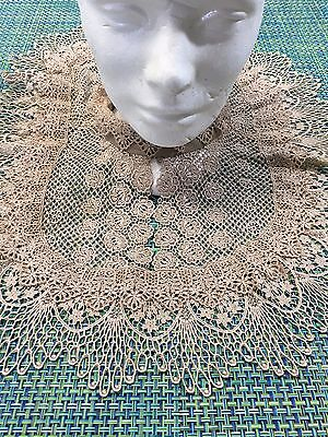 Antique Vintage Taupe Tan All Lace Womens Collar Linen Neck