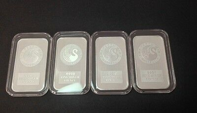 1oz Silver Bar Lot of 4 Fine Silver Perth Mint