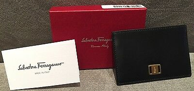 NIB Authentic Salvatore Ferragamo Black Calf Leather card case ID Holder