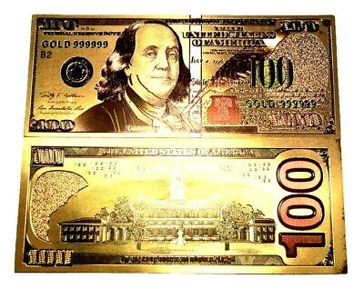 New Style 999999 24K Gold $100 Bill Us Banknote In Protective Sleeve