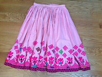Vintage Embroidered Full Long Skirt Mirrors Indian Pink Boho Adjustable Size