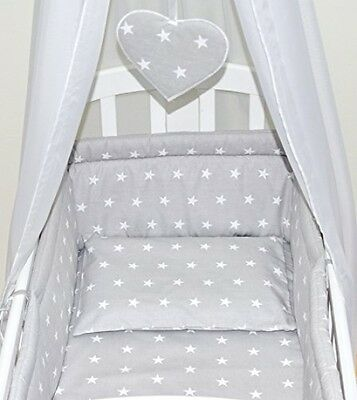 Baby Swinging Rocking Crib Cradle Bedding Set All Round Bumper Cotton Grey Stars