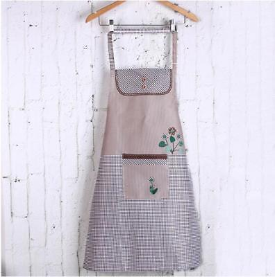 Women Solid Cooking Kitchen Bib Apron Dress with Pocket Pure Cotton