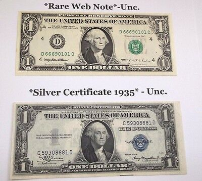 2 Uncirculated Notes-(1) *Web Note* & (1) 1935 Silver Certificate - -FREE SHIP !
