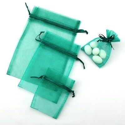 Teal Green Organza Bags - wedding party favour bomboniere gift pouch