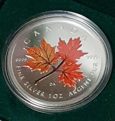 2001 Canada $5.00 1 Oz 9999 Silver Maple Leaf Coloured Autumn with box