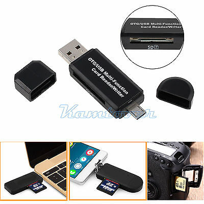 NEW Micro USB OTG to USB 2.0 Adapter Micro SD Card Reader For Smartphones/PC AU