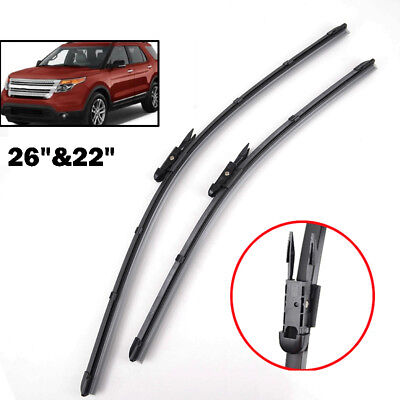 "2 Pack  Windshield Wiper Blades Front Window Fit For 11-17 Ford Explorer 26""&22"""