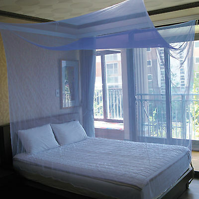 Simple Square Mosquito Net for Bed, Blue, Large