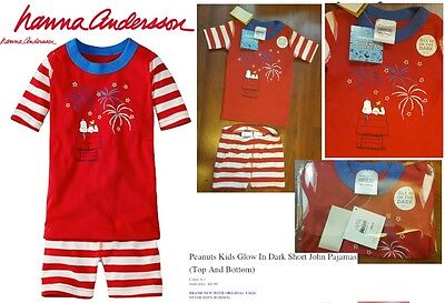 HANNA ANDERSSON Peanuts Kids Glow In Dark Short John Pajamas RED 47961 NEW TAGS