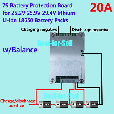 24V 20A 7S 18650 Cells w/ Balancing Li-ion Lithium Battery BMS Protection Board