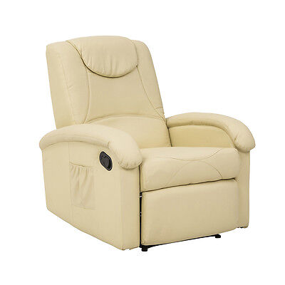 Poltrona relax DENVER reclinabile sistema manuale in ECOPELLE BEIGE