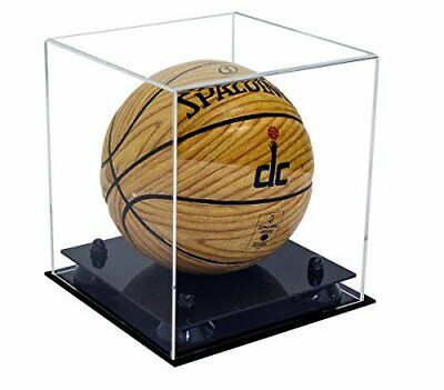 Collectible Clear MINI-Miniature Basketball Display Case-Black Risers (A015-BR)