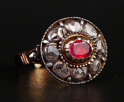 Antique Ring solid 14K Green Gold Silver 0.65ct Ruby 2.88ct Diamonds Ø 6.5US/5gr