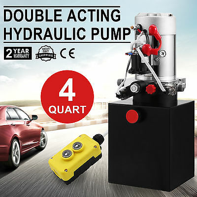 Hydraulic Double Acting Pump 12V 4L tank Metal Reservoir without remote New