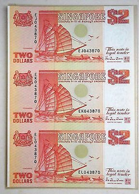 Singapore 3-in-1 Uncut Banknote with folder - $2 Red Ship Series