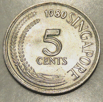 (1) Singapore - Five Cent Coin - 1980 - Reasonable Cond For Age