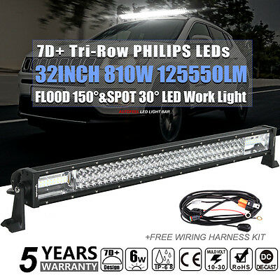Philips 32'' Inch 810W Led Light Bar Spot Flood Offroad Work Driving Atv 4Wd Suv