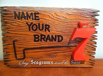 """Vintage Bar Advertising Seagram's 7 Whiskey """"Name Your Brand"""" Faux Wood Sign"""