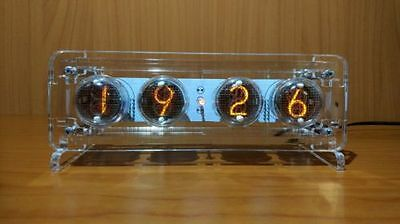 IN-4 Nixie Tube Clock Assembled Tested Acrylic Case with Adapter