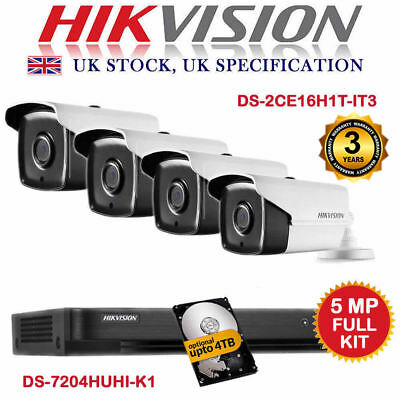 5MP Kit HIKVISION DS-7204HUHI-F1/S & 2-4x 5 MP 1080p Cameras DS-2CE16H1T-IT3 UK