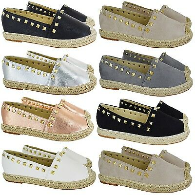 Ladies Womens Flat Slip On Espadrilles Summer Stud Casual Pumps Shoes Size 3-8