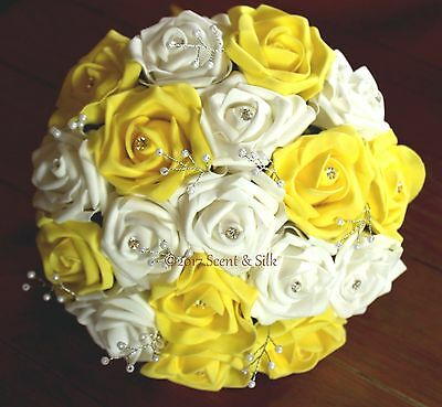 Artificial Wedding Bouquet Package,Brides,Bridesmaids,Flowergirl Yellow & White
