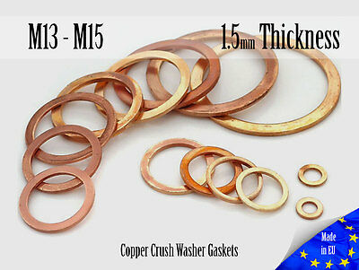 M13/M15 Thick 1,5mm Metric Copper Flat Ring Oil Drain Plug Crush Washer Gaskets