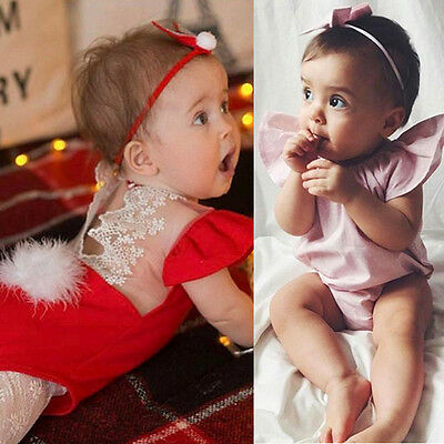 Newborn Kids Baby Girl Lace Romper Christening Jumpsuit Playsuit Clothes Outfits