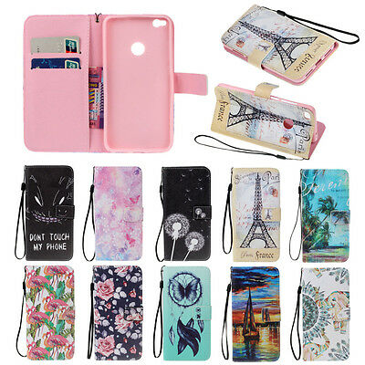 Card Slot Flip Stand Magnetic Wallet Leather Case Cover For Huawei Samsung
