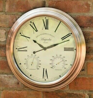 40cm VINTAGE COPPER INDOOR/OUTDOOR WALL CLOCK THERMOMETER & HUMIDITY STRONG NEW