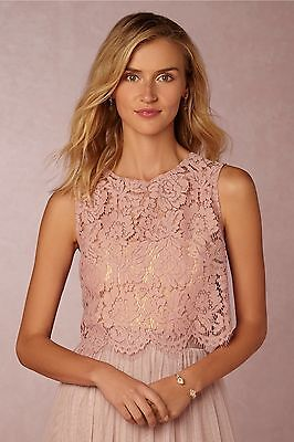 BHLDN Cleo Top Size L Whipped Apricot Lace Jenny Yoo Wedding Topper NWT