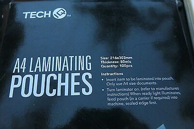 TECH IQ A4 Laminating Pouches 80 MICRON 100 Pack