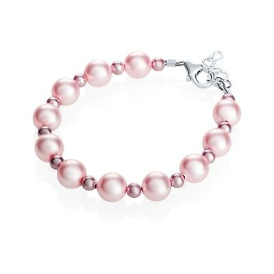"Baby Bracelet with Pink & Rose Swarovski Pearls-Small (0-6 Months, 4"")"